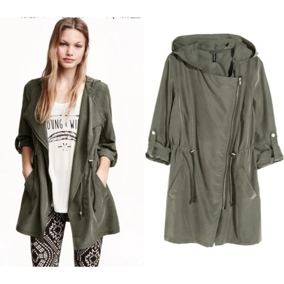 uk availability 514d1 354f0 H&M Khaki Green Hooded Parka